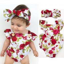 Kwiatowy kombinezon & opaska dla dziewczynki - zestaw bawełniany - 2 sztuki