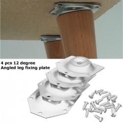 Plaque de fixation de pieds de table angulaire - support de montage pour pieds de meubles - set 4 pièces