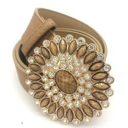 Cintura in pelle vintage di lusso con fibbia rotonda in cristallo e perle