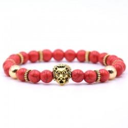 Bransoletka z głową lwa z koralikami z kamienia naturalnego