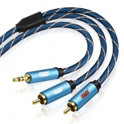 Kabel audio AUX EMK 3,5 mm do 2RCA - 1 m - 1,5 m - 2 m - 3 m - 5 m