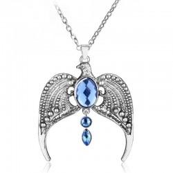 Orzeł z niebieskimi kryształkami - naszyjnik w stylu vintage