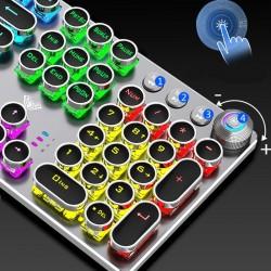 Steampunk - gaming mechanical keyboard - metal panel - round retro keycap - backlit wired keyboard