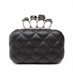 Luksusowa torebka w kratkę z pierścieniami - kopertówka z łańcuszkiem