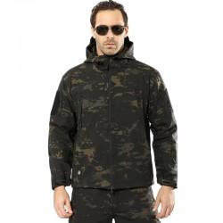 Wojskowa - kamuflażowa - wodoodporna kurtka z kapturem i zamkami błyskawicznymi