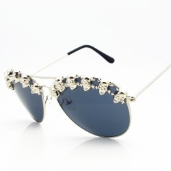 SWOKENCE Skull Pilot Sunglasses Woman Men Steampunk Sun Blinkers Hip Hop Sun Glasses Halloween Party