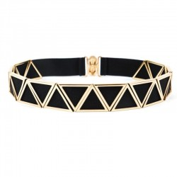 Most Popular Womens Belt Cut Out Gold Triangle Metal Belt With Multi Elastic Hook Closure Belt For