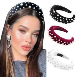 Fashionable velvet headband with pearls