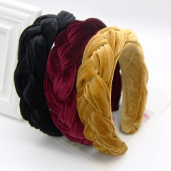 Haimeikang Fashion New Bezel Headband Twist Braid Womens Hair Hoop Gold Velvet Cloth Thickening Win