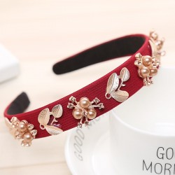 Haimeikang Women Hairband Crown Full Rhinestone Handmade Hair Bands Red Crystal Velvet Wide Hoop Hea