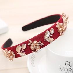 women hairband - crown full rhinestone - handmade hair bands - red crystal velvet wide hoop headband