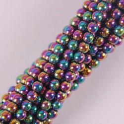 4-milimetrowy hematyt magnetyczny - okrągłe luźne koraliki - 16-calowy sznurek do wyrobu biżuterii