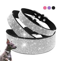 Skórzana obroża z cyrkoniami dla psów i kotów