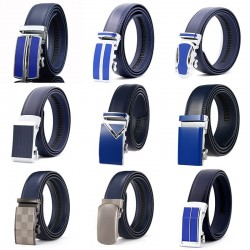 Genuine leather belt with automatic buckle - blue