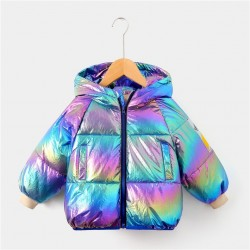 gorgeous multicolour white duck down jacket for kids 2-8 years -fashion hooded outerwear