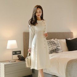 elegant dress - casual long sleeve dress - office lady runway designers high fashion dress