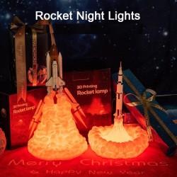 3D prom kosmiczny - lampka nocna w kształcie rakiety