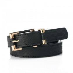 Fashionable leather belt with crocodile pattern