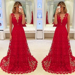 Women Summer Sexy Sleeveless V-Neck Long Dress Ladies Evening Party Formal Solid Red Lace Dresses
