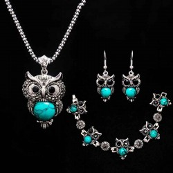 stone necklace set - owl bracelet & earrings - necklace jewelry - pendant long chain necklace-in pendant necklaces
