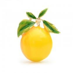 Żółta cytryna - emaliowana złota broszka