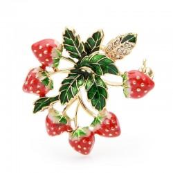 Truskawki z liśćmi - elegancka kryształowa broszka