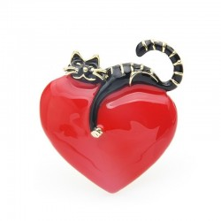 Wulibaby Original Enamel Heart Lazy Cat Brooch Pins For Lovers Gift Wedding Jewelry Brooch 2019 Chr