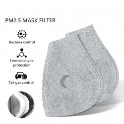 PM25 - active carbon replacement filter for mouth/face mask with double air valve - 10 pieces