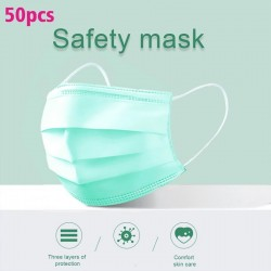 Jednorazowe maski na twarz / usta - 3 warstwy - przeciwpyłowa - przeciwbakteryjna - premium zielona