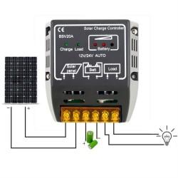 Contrôleur Charge de 20A 12V / 24V pour Panneau Solaire