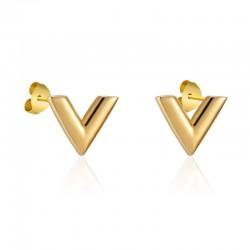 V pattern stud earrings - stainless steel