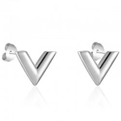 V pattern stud earrings - titanium steel