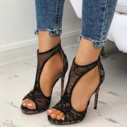 Elegant lace high heels pumps - black