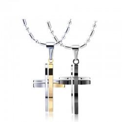 Modieus zwart - zilver - gouden dubbele kruis - roestvrijstalen ketting - unisex
