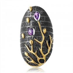 Vintage zircon violet - arbre d'or - bague
