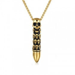 Bullet Skull Pendant Necklace - Gold/Silver