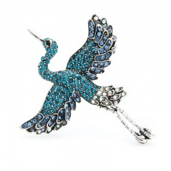 Flying Crane Brooches - Rhinestone
