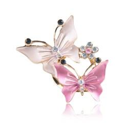 Double butterflies & flower - crystal brooch