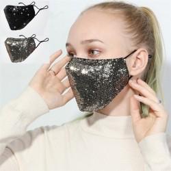 Przeciw zanieczyszczeniom - oddychająca - bawełniana maska na twarz / usta z cekinami