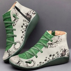 Flat Leather Retro Lace-up Boots - Green