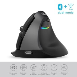M618 - 2.4GHz - mini vertical wireless mouse - Bluetooth 4 - dual mode - rechargeable - silent