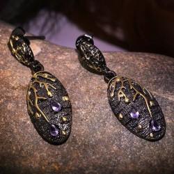 Purple Zircon Stud Earrings