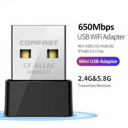 CF-811AC 650Mbs - 2.4G et 5G - Double bande - Adaptateur Wifi USB sans fil portable - Haute vitesse