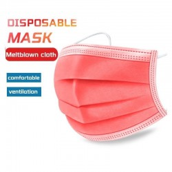 Disposable anti-bacterial medical face mask - mouth mask - 3 layer - red