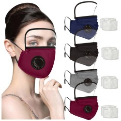 Mouth / face protective mask - detachable plastic eye shield - air valve - 2.5PM filter - reusable