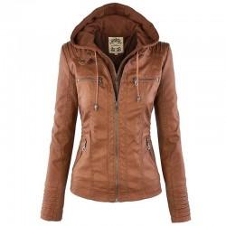 Zimowa kurtka skórzana - odpinana podpinka wewnętrzna z kapturem - wodoodporna - rozmiar plus