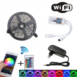 WIFI RGB LED strip light set - SMD 2835 DC12V waterproof - 5M - 10M - 15M - 20M - with WIFI controller and power adapter