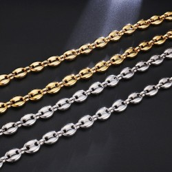 Coffee beans link chain - necklace - stainless steel - unisex