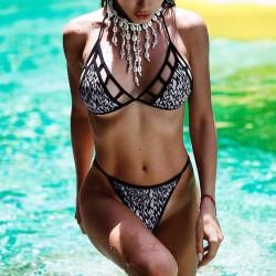 Vintage print bikini set - swimwear - black