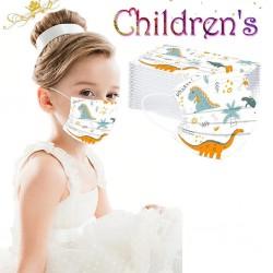 50 sztuk - jednorazowa antybakteryjna maska medyczna na twarz - maska na usta - 3-warstwowa - dla dzieci - nadruk zwierzęcy